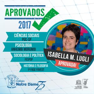 Aprovados vestibular 2017 Isabella-Lugli