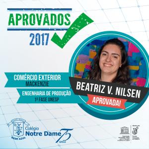Aprovados vestibular 2017 beatriz-nilsen