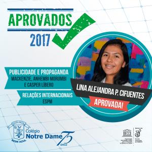 Aprovados vestibular 2017 lina-alejandra